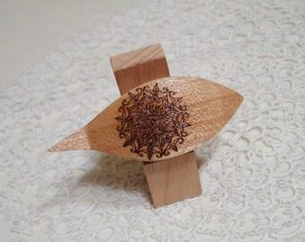 "Beautiful handmade pearwood tatting shuttle with tip 2.5"""