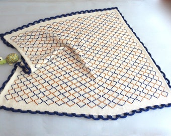 Hand Knit Cotton Baby Blanket - Contemporary Design - Receiving Blanket