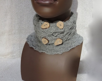 Texture Knit  Neck Warmer / Collar with Wooden Buttons  - Unisex