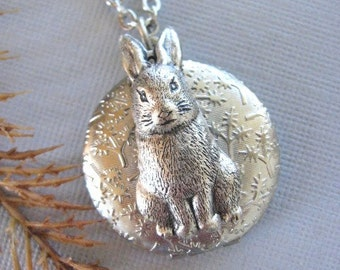 Bunny LOCKET, Silver Locket Necklace, Bunny Locket, Hare, Bunny Necklace, Peter Rabbit, Handmade Jewelry, White Rabbit, Wildlife Jewelry