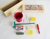 Miniature Cleaning Supplies Doll House Toy German  Housekeeping