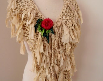 recycled silk  ivory off white cream boho chic little tattered scarf  and flower pin handknitted by plumfish