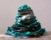 labyrinth fiber effects™  art yarn bundle 12yds specialty ribbon embellishment trim mixed fiber sampler pack . blue teal brown