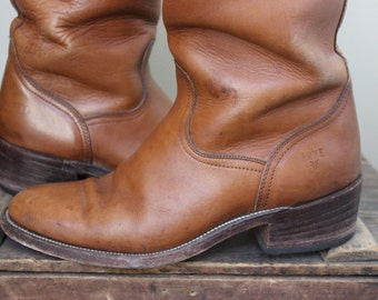 Vintage Frye Cowboy Boots Campus Size 9 D Mens Leather Boot
