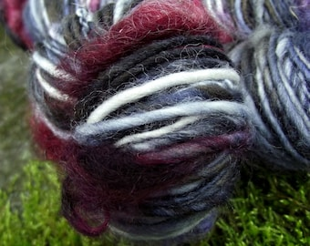 Handspun art  yarn, handpainted Falkland wool yarn uncarded locks of mohair thick and thin-Wonderland