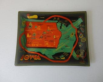 VINTAGE smoke glass IOWA souvenir TRAY