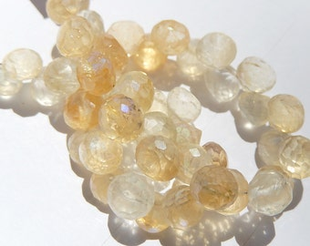 Mystic Citrine Gemstone. Faceted Onion Briolette, 8mm. Semi Precious Gemstone Briolettes. Pkg of 2. (fcit1)