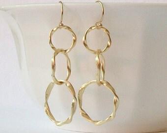 Summer Sale! Gold Twisted Hoop Earrings