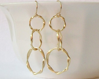 Gold Twisted Hoop Earrings, Graduated Circle Dangle Earrings