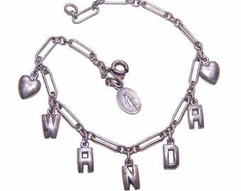 Vintage 1960s Sterling Silver Name Bracelet - WANDA