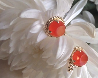 Carnelian Earrings, Etruscan-Inspired Design with Natural Carnelian and Solid 18k Yellow Gold, Ready to Ship