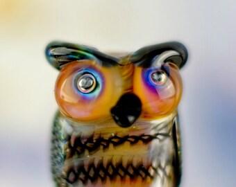 Kirby....... lampwork owl bead........ sra