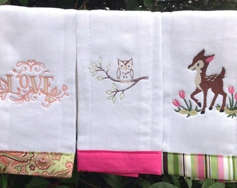 Baby Girl Burpcloth Set of 3 with Embroidered Owl Deer and Love Woodland Animal Theme Perfect Baby Shower Gift Idea