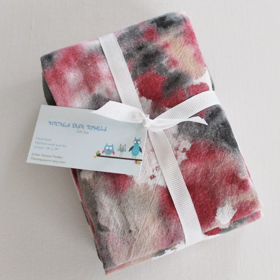 Red Kitchen Hand Towels: Hand Dyed Kitchen Towels Flour Sack Tea Towel By