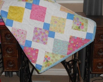 Homemade quilt, child quilt, cozy quilt, mothers day, handmade quilt, throw, lap robe, companion quilt, pastel quilt, blanket quilt, blue