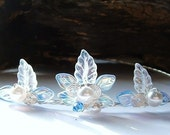 ON SALE Sapphire and Ice Elsa Renaissance Tiara, Crystal Bridal Halo Crown, Bridesmaid Flower Girl Princess Frozen Winter Wedding Tiara Hair