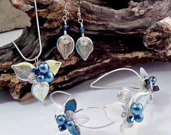 ON SALE Woodland Triquetra Bridal Jewelry Set -Bracelet Necklace Earrings Fairytale -  Boho Wedding Something Blue Bridesmaids Jewelry Set