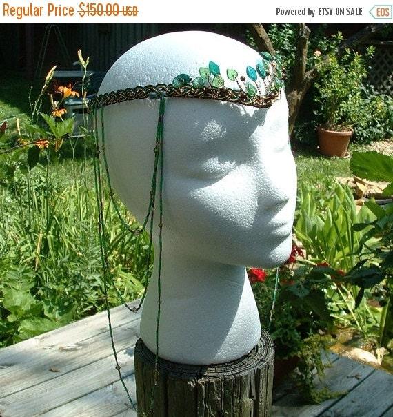 ON SALE Boho Wedding Headdress Elven Woodland Head Piece Tribal Dance Art Nouveau Headpiece Beaded Gypsy Hair Chain Art Nouveau Festival Sty