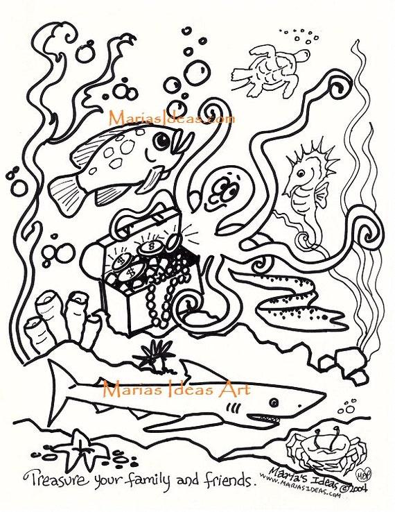 Páginas para colorear colorear adultos bajo el mar página