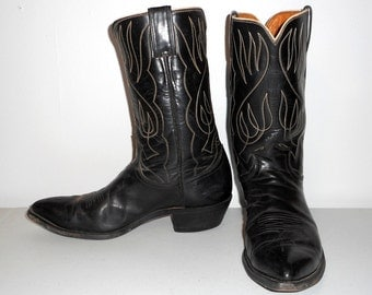 Mens 9.5 D Justin Cowboy Boots Western Rockabilly Black White Shoes Womens 11