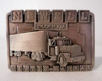Newell Truck Plaza Belt Buckle Newton Kansas Semi Tractor Trailer 1984 Siskiyou limited Edition