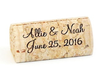Personalized Wine Cork Place Card Holders - Front & Back Printing