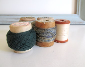 Five Vintage Wood Thread Spools Crochet Cotton Natural Colors Faded Blue Dark Green Display