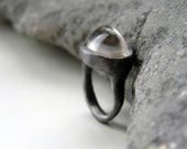 Clear Quartz Oxidized Sterling Silver Ring. Organic Ring.