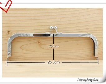25.5cm x 9cm rectangle clutch  Purse frame  Nickel D36