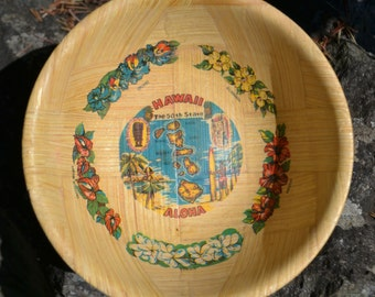 Vintage Pressed Bamboo Hawaii Bowl