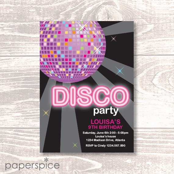 Disco or Dance Party Invitation - DIY Printable Personalized (Digital File)