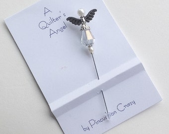 Angel Stick Pin - A Quilter's Angel - Embellishment Pin - Scrapbooking Pin - Cardmaking Pin - Gift for Quilter