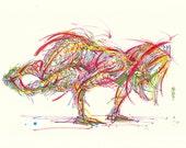 Yoga Art -- Original color drawing on paper // Side Crow