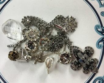 Repurpose salvage Flower Silver tone Rhinestone earring lot destash harvest