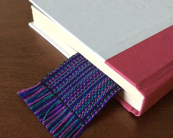 Handwoven bookmark. Jade, magenta, purple, blue