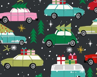 Christmas Fabric - Vintage Christmas Cars Holiday Xmas Fabric Tree On Car By Charlotte Winter - Fabric by the yard With Spoonflower
