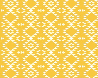 Tribal Southwestern Geometric Fabric -  Yellow By Kimsa - Geometric Yellow and White Cotton Fabric By The Yard With Spoonflower
