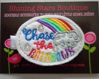 "Felt Hair Clip - Girls Hair Accessories - ""Chase The Rainbows"" Embroidered Felt Rainbow Hair Clippie For Girls"