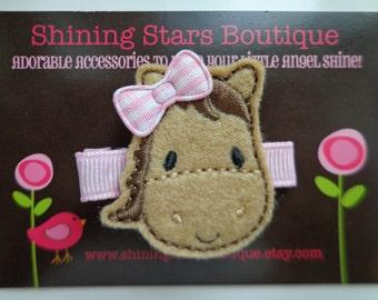 Hair Accessories - Felt Hair Clips - Light Brown And Pink Embroidered Felt Horse Hair Clippie For Girls - Farm Animal