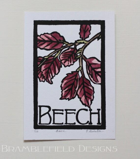 Beech- Block Print Original- FREE SHIPPING