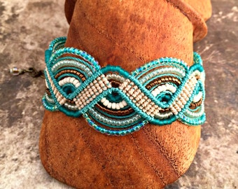 Teal and Turquoise Macrame Bracelet - Beachy Colored Micro Macrame Bracelet - Beaded Macrame Bracelet