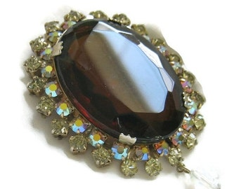 Vintage HUGE Amber Cut and Faceted Glass with Aurora Borealis Rhinestones and Dangle Brooch or Pin
