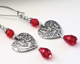 Silver Heart Earrings - Embossed, Red Crystal, Drop Earrings, Long Earrings, Red Earrings