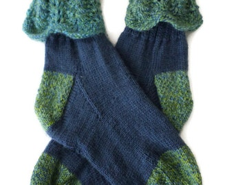 Socks - Hand Knit Women's Denim with Contrasting Green and Blue Cuffs - Size 7-8.5 - Casual Socks