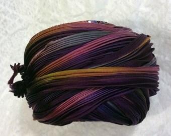 Shibori Ribbon Hand Dyed Shibori Silk Ribbon Rusty Purple Bor
