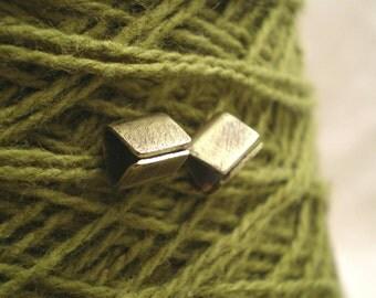 Brass Pyramid Post Earrings