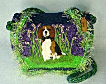Beagle Dog,Felted Purse, Felted Handbag, Beagle Dog Portrait, Dog Portrait, Dog Purse