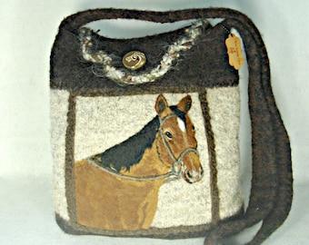 Felted Tote, Felted Purse, Felted Handbag,Bay Horse,Needle Felt Horse, Horse Art