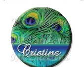 """50% OFF - SALE - Pocket Mirror, Magnet or Pinback Button - Party Favors 2.25"""" -  Peacock Feathers Personalized MR363"""