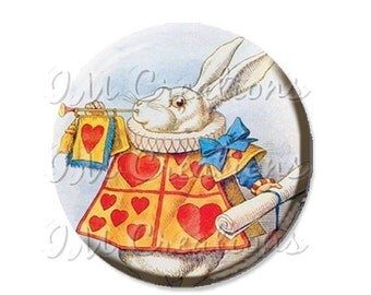 """35% OFF - Pocket Mirror, Magnet or Pinback Button - Wedding Favors, Party themes - 2.25""""- Alice In Wonderland White Rabbit MR219"""